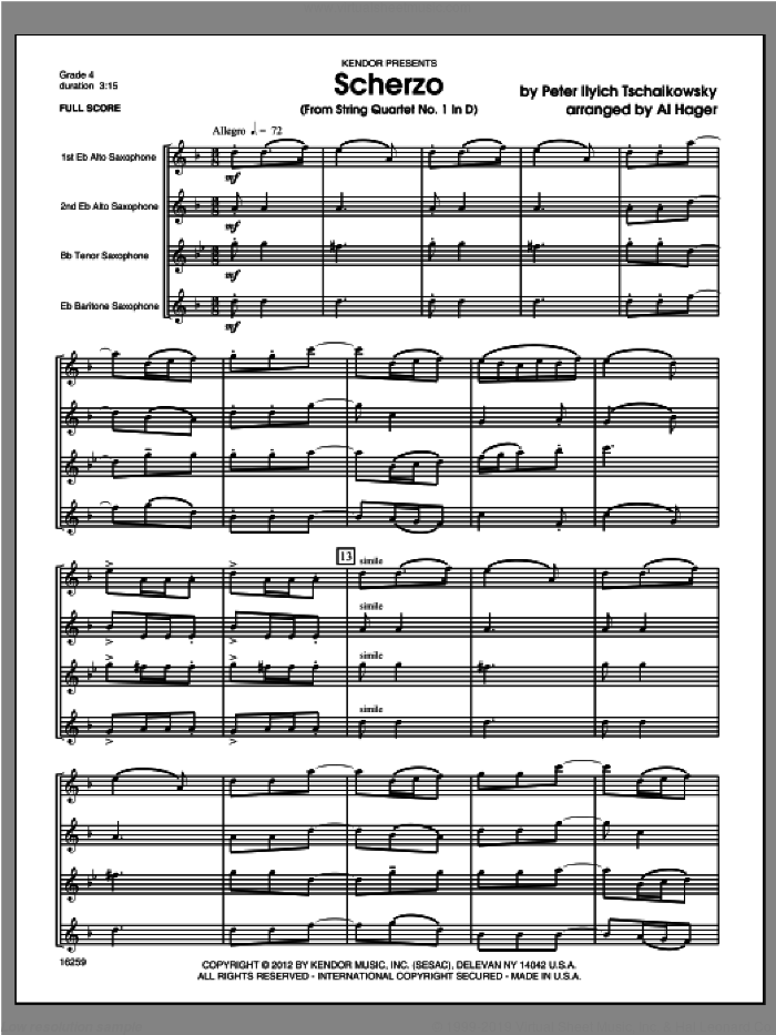 Scherzo (from String QuartetNo. 1 In D) (COMPLETE) sheet music for saxophone quartet by Hager and Pyotr Ilyich Tchaikovsky, classical score, intermediate saxophone quartet. Score Image Preview.