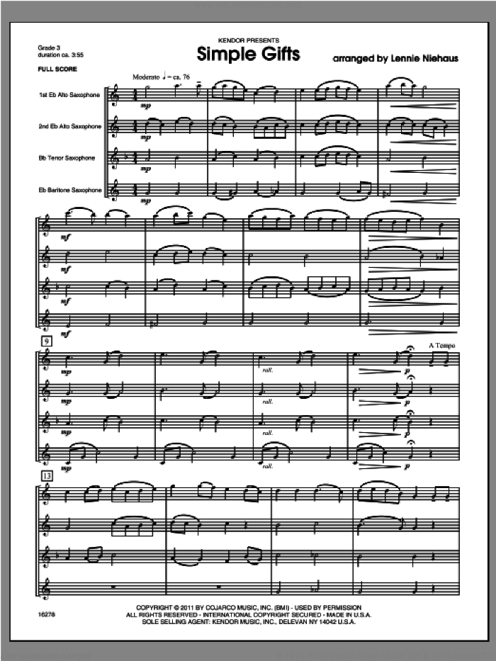 Simple Gifts (COMPLETE) sheet music for saxophone quartet by Lennie Niehaus, classical score, intermediate skill level