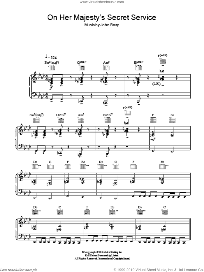 On Her Majesty's Secret Service - Theme sheet music for piano solo by John Barry, intermediate skill level