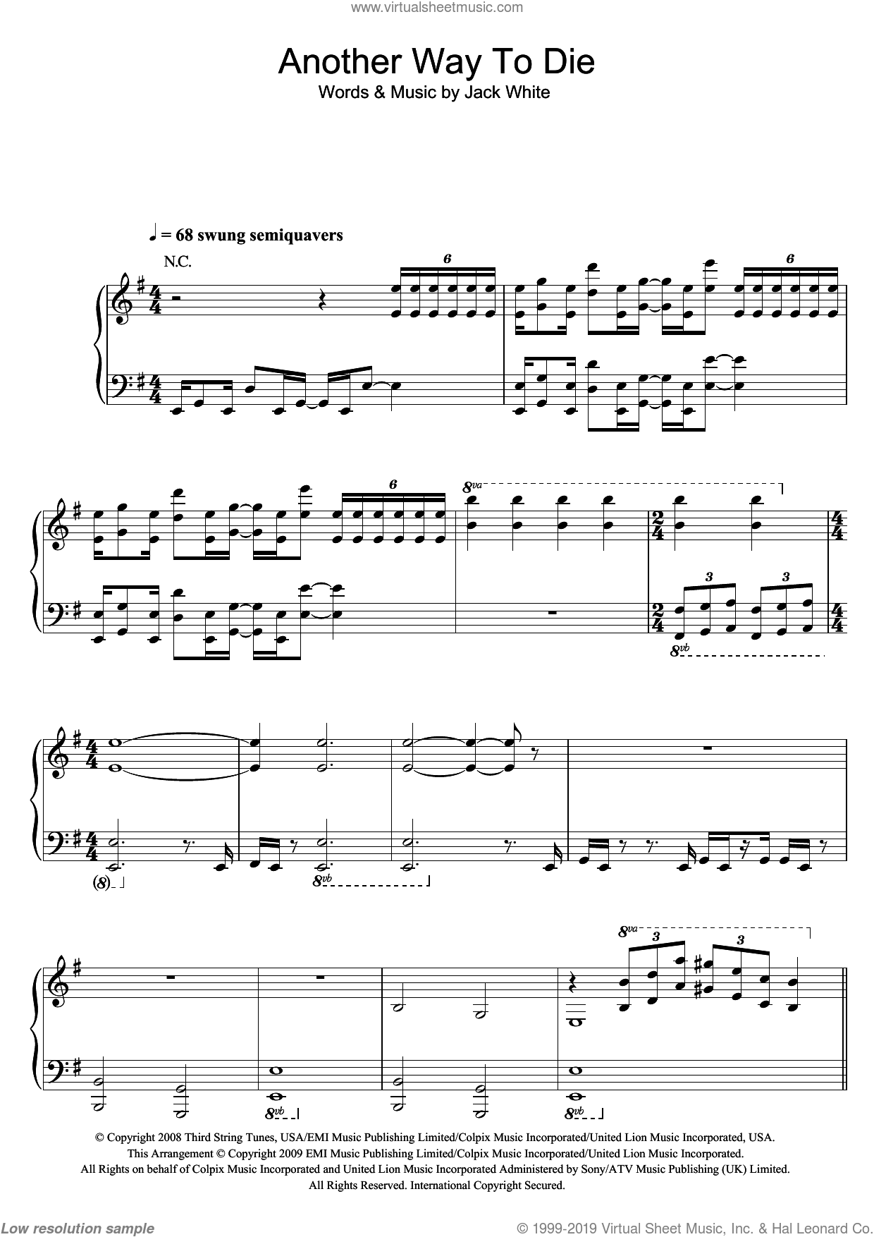 Another Way To Die sheet music for voice, piano or guitar by Jack White & Alicia Keys and Jack White, intermediate voice, piano or guitar. Score Image Preview.