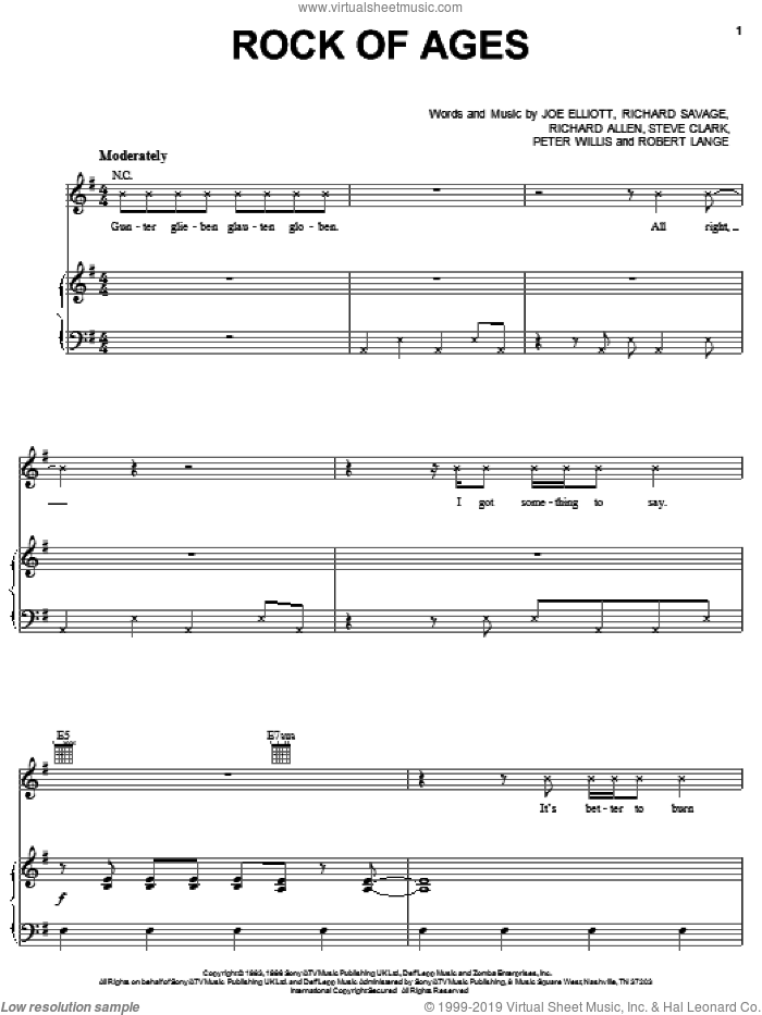 Rock Of Ages sheet music for voice, piano or guitar by Def Leppard, Joe Elliott, Peter Willis, Richard Allen, Richard Savage, Robert John Lange and Steve Clark, intermediate skill level