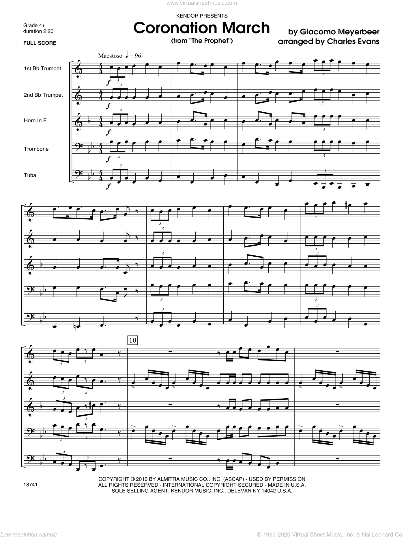 Coronation March (from 'The Prophet') sheet music for brass quintet (full score) by Meyerbeer