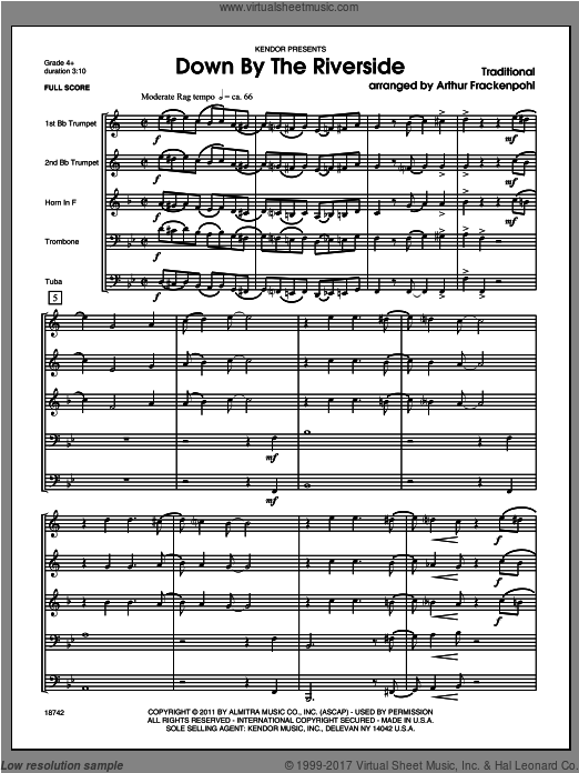 Down by the Riverside (COMPLETE) sheet music for brass quintet by Frackenpohl