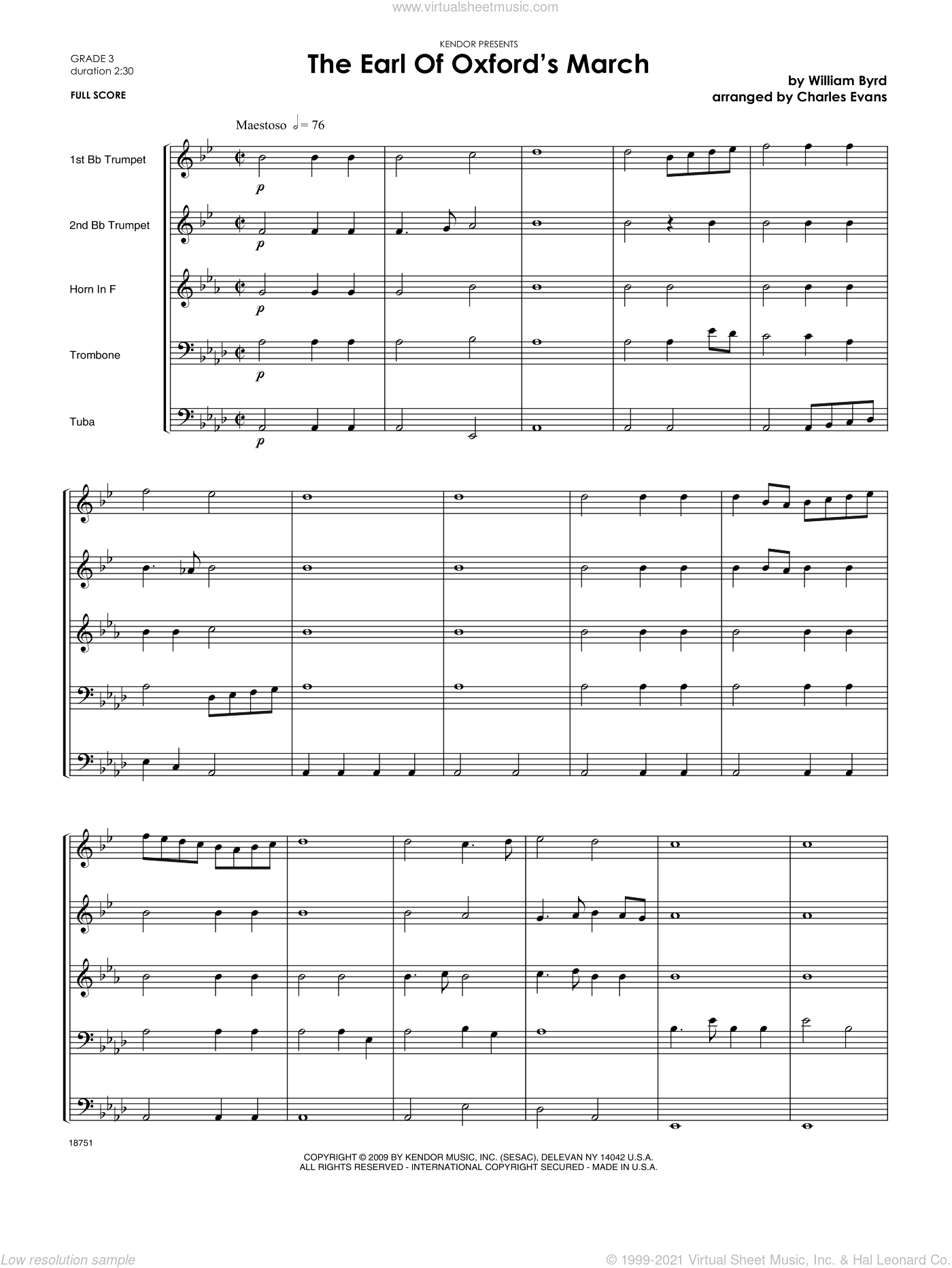 Earl Of Oxford's March, The sheet music for brass ensemble (full score) by Byrd and Evans. Score Image Preview.