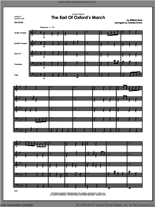 Earl Of Oxford's March, The (COMPLETE) sheet music for brass quintet by Byrd and Evans. Score Image Preview.