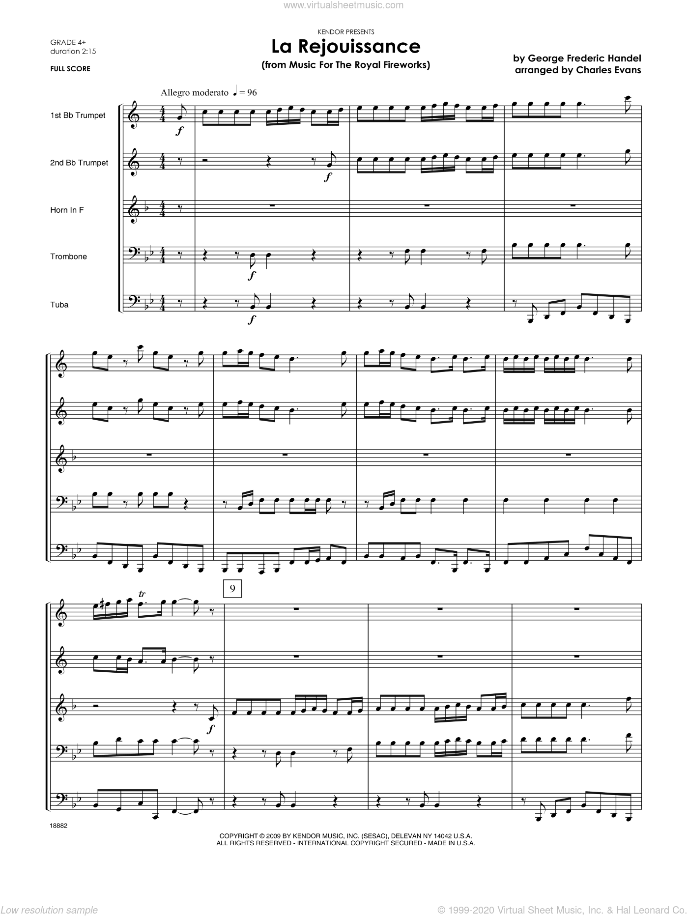 La Rejouissance (from Music For The Royal Fireworks) sheet music for brass quintet (full score) by George Frideric Handel and Evans. Score Image Preview.