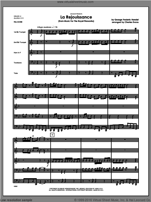La Rejouissance (from Music For The Royal Fireworks) (COMPLETE) sheet music for brass quintet by George Frideric Handel and Evans. Score Image Preview.