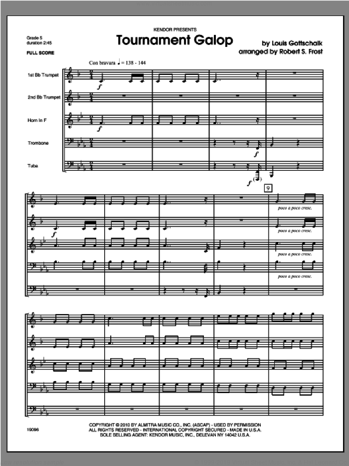 Tournament Galop sheet music for brass quintet (full score) by GOTTSCHALK and Frost. Score Image Preview.