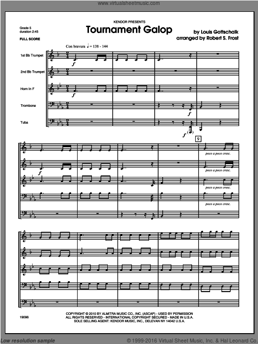 Tournament Galop (COMPLETE) sheet music for brass quintet by GOTTSCHALK and Frost. Score Image Preview.