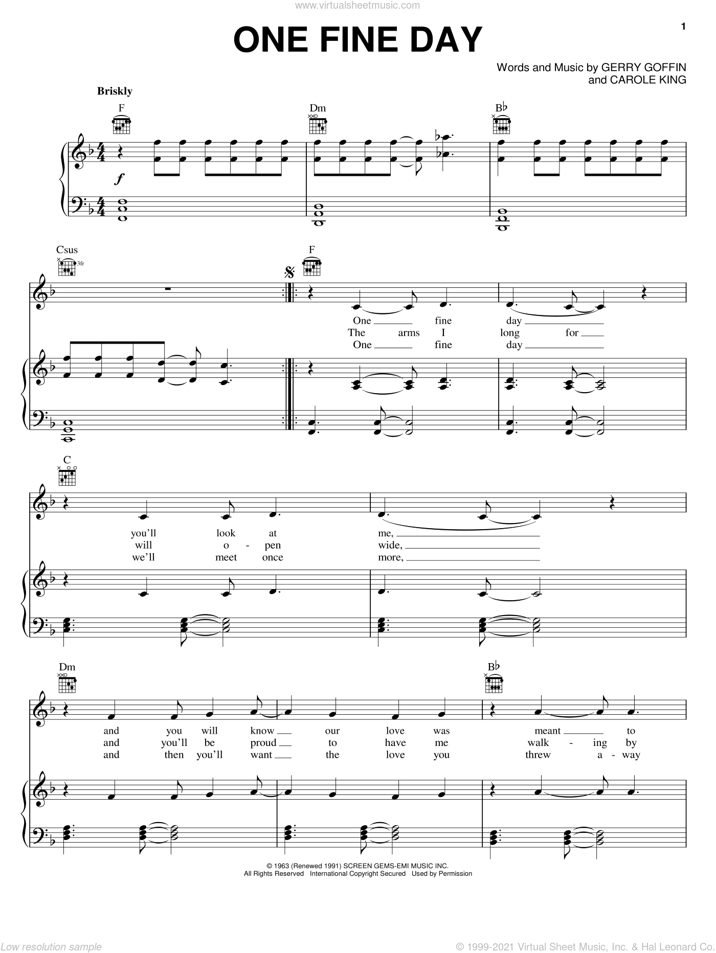 One Fine Day sheet music for voice, piano or guitar by Rita Coolidge, The Chiffons, Carole King and Gerry Goffin, intermediate voice, piano or guitar. Score Image Preview.