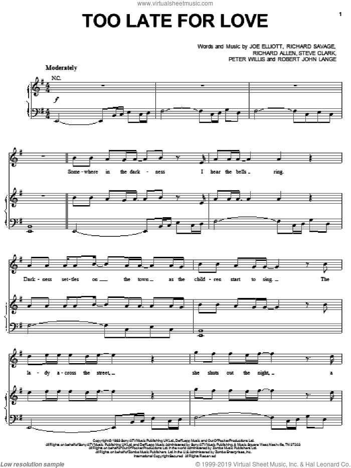 Too Late For Love sheet music for voice, piano or guitar by Def Leppard, Joe Elliott, Peter Willis, Richard Allen, Richard Savage, Robert John Lange and Steve Clark, intermediate. Score Image Preview.