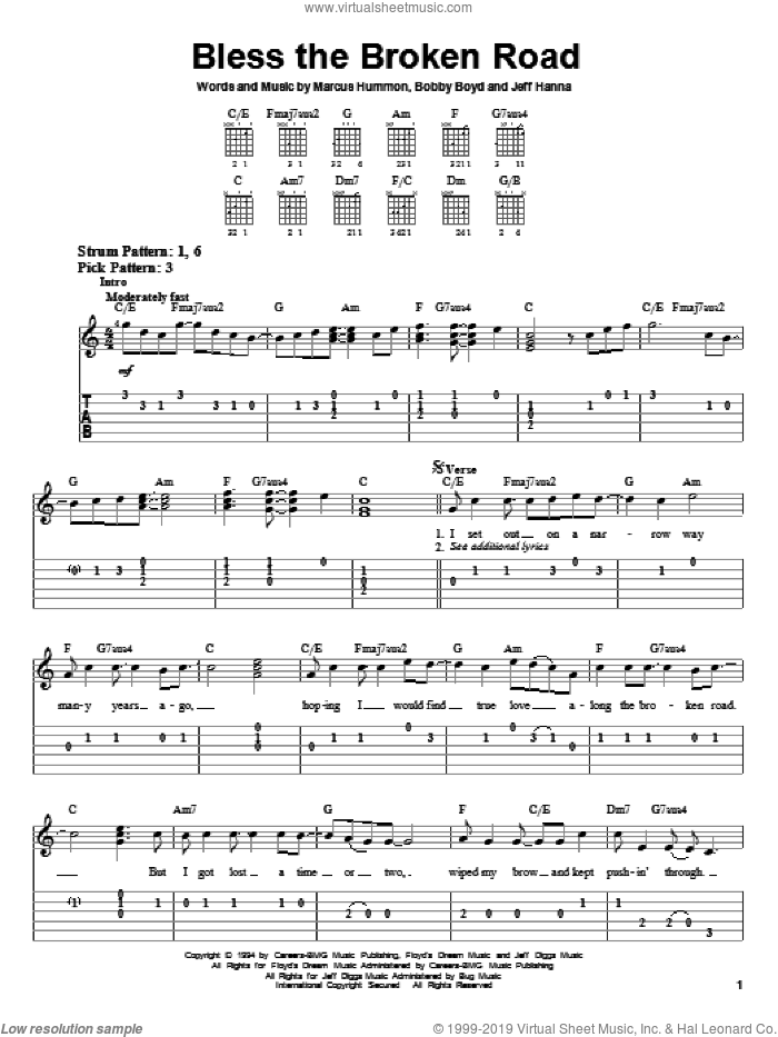Bless The Broken Road sheet music for guitar solo (easy tablature) by Marcus Hummon and Rascal Flatts. Score Image Preview.