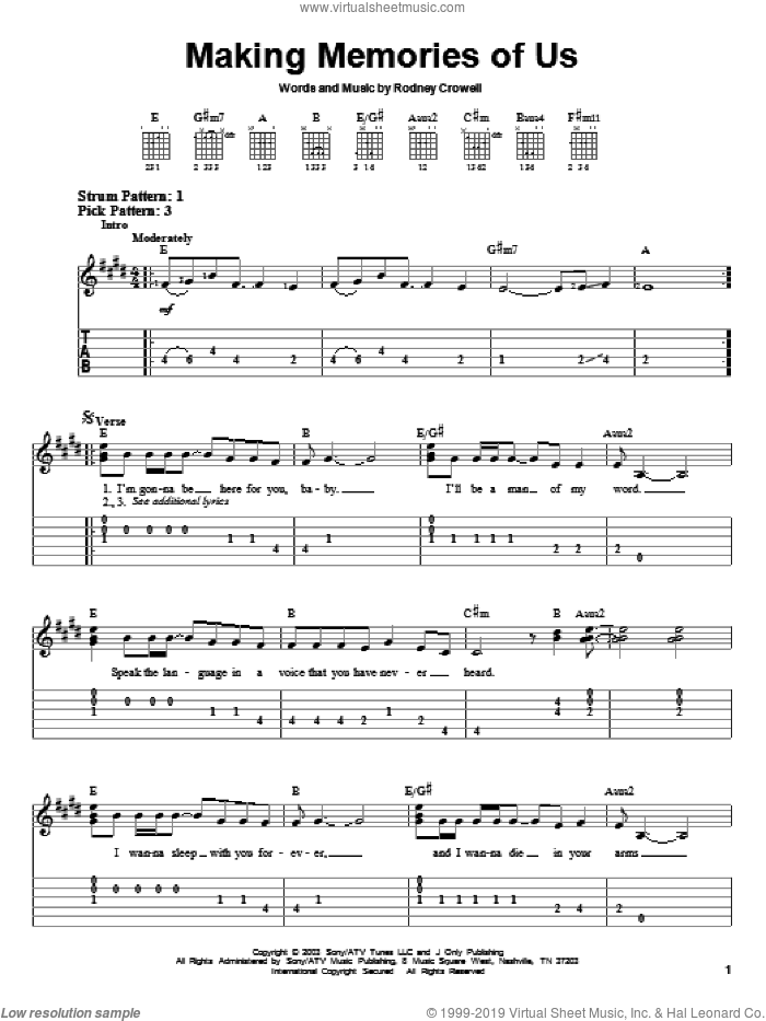 Making Memories Of Us sheet music for guitar solo (easy tablature) by Keith Urban and Rodney Crowell, easy guitar (easy tablature)