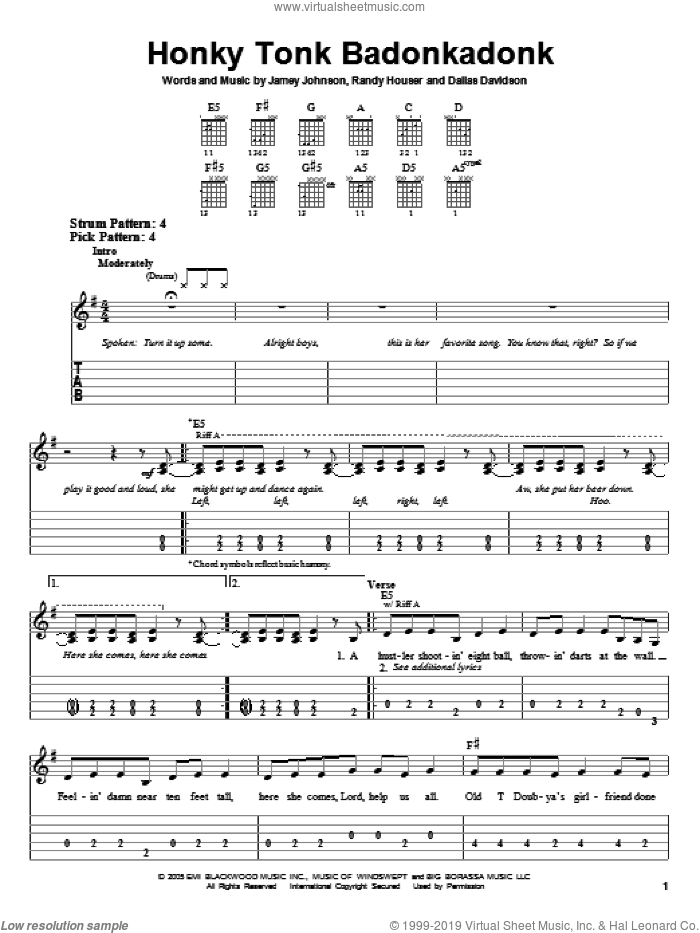 Honky Tonk Badonkadonk sheet music for guitar solo (easy tablature) by Randy Houser, Trace Adkins, Dallas Davidson and Jamey Johnson. Score Image Preview.