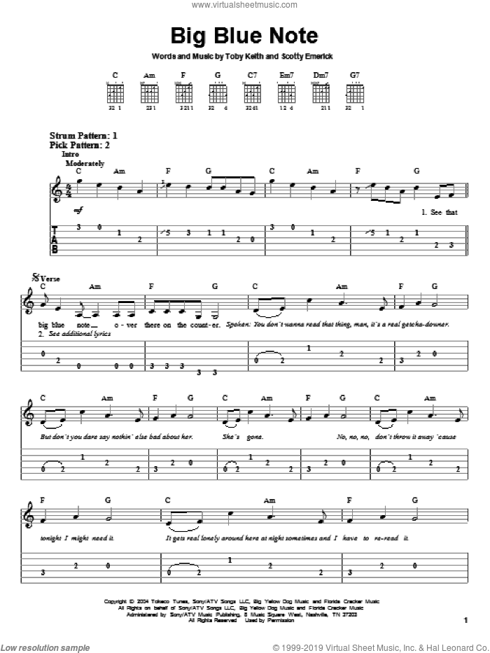 Big Blue Note sheet music for guitar solo (easy tablature) by Toby Keith and Scotty Emerick, easy guitar (easy tablature)