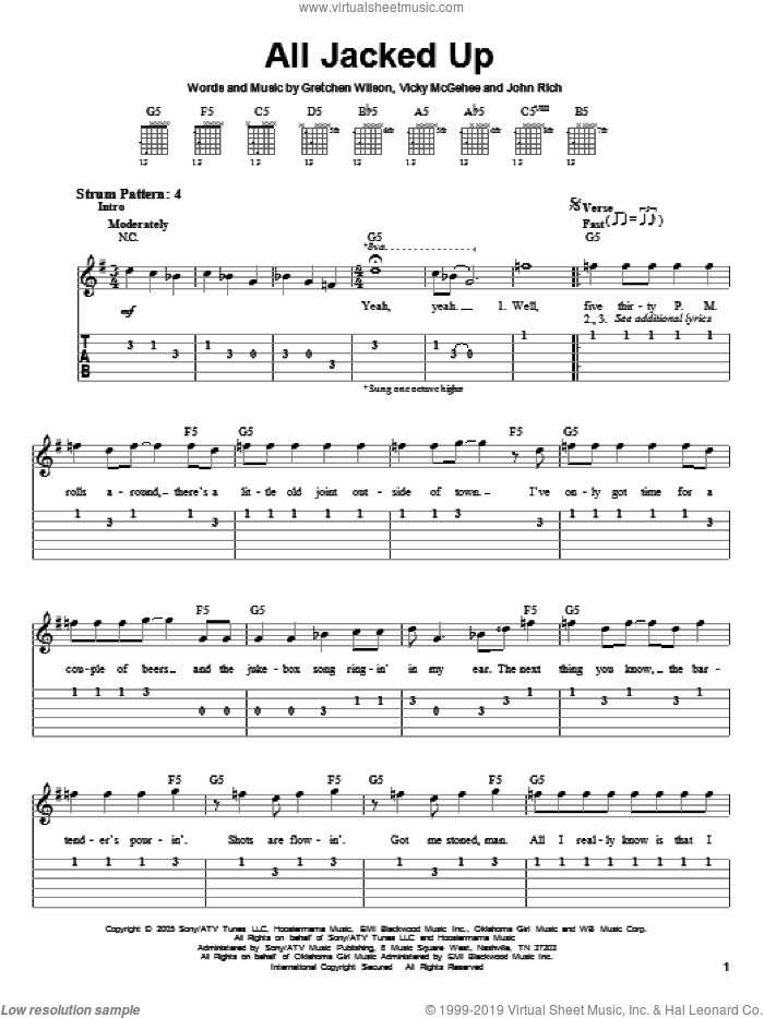 All Jacked Up sheet music for guitar solo (easy tablature) by Gretchen Wilson, John Rich and Vicky McGehee, easy guitar (easy tablature)