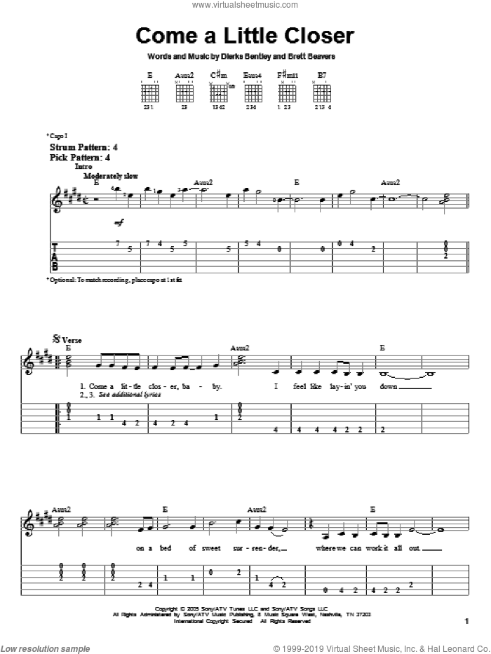 Come A Little Closer sheet music for guitar solo (easy tablature) by Dierks Bentley and Brett Beavers. Score Image Preview.