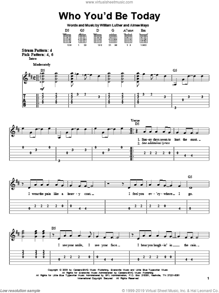 Who You'd Be Today sheet music for guitar solo (easy tablature) by Kenny Chesney, Aimee Mayo and Bill Luther, easy guitar (easy tablature)