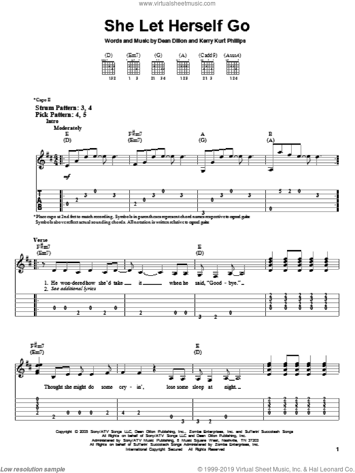 She Let Herself Go sheet music for guitar solo (easy tablature) by Kerry Kurt Phillips