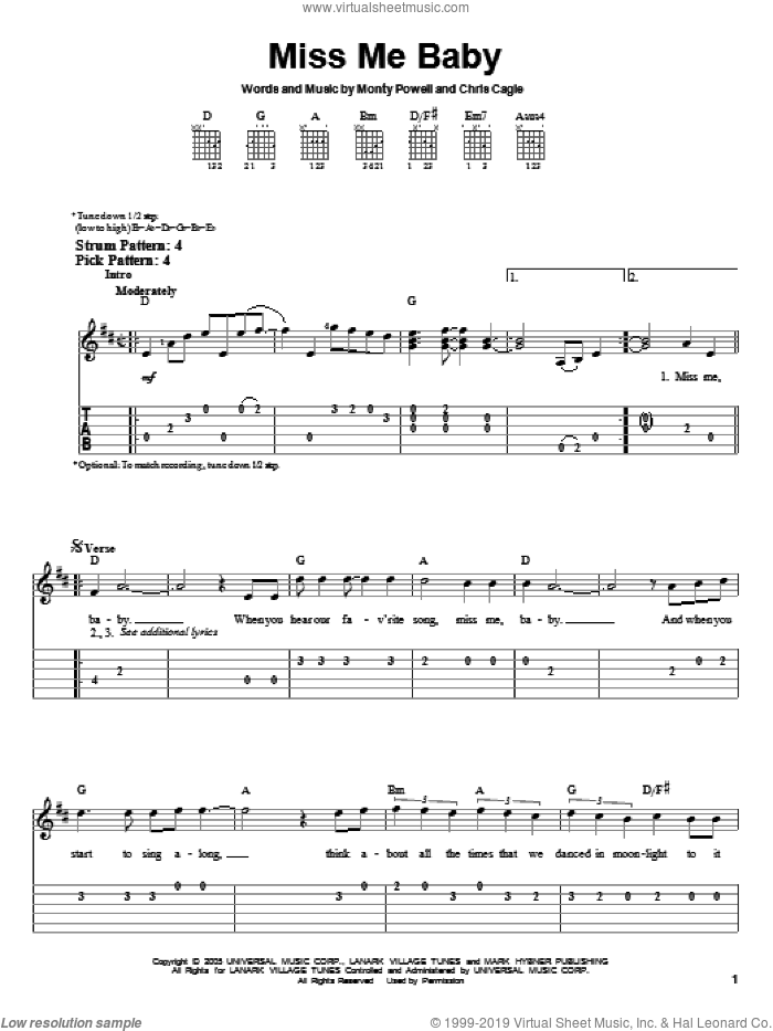 Miss Me Baby sheet music for guitar solo (easy tablature) by Chris Cagle and Monty Powell, easy guitar (easy tablature). Score Image Preview.