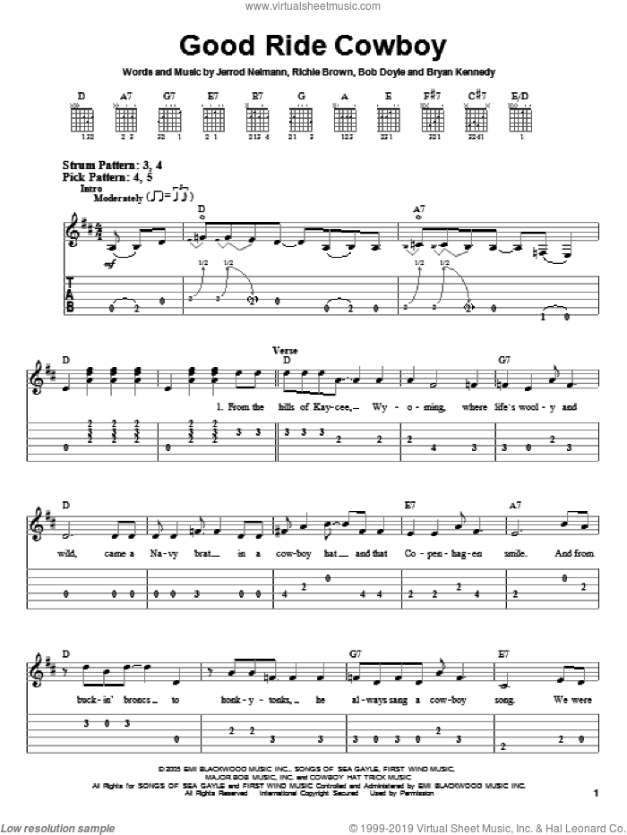 Good Ride Cowboy sheet music for guitar solo (easy tablature) by Richie Brown, Garth Brooks and Brian Kennedy. Score Image Preview.