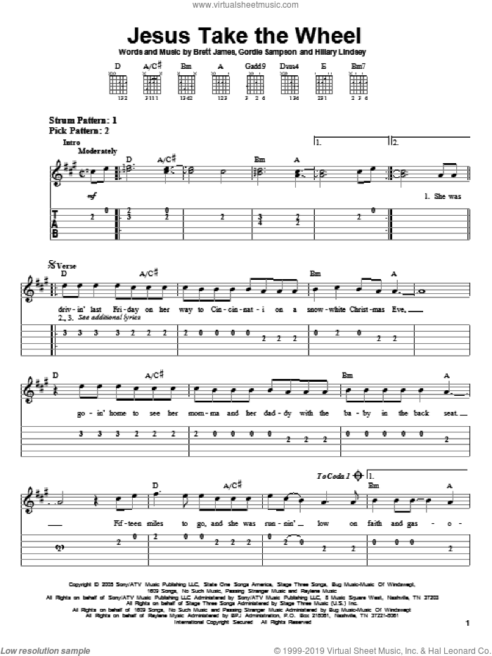 Jesus Take The Wheel sheet music for guitar solo (easy tablature) by Carrie Underwood, American Idol, Brett James, Gordie Sampson and Hillary Lindsey, easy guitar (easy tablature). Score Image Preview.