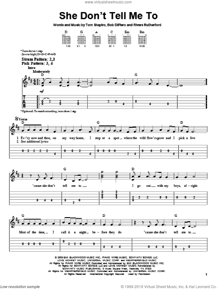 She Don't Tell Me To sheet music for guitar solo (easy tablature) by Tom Shapiro, Montgomery Gentry, Bob DiPiero and Rivers Rutherford. Score Image Preview.