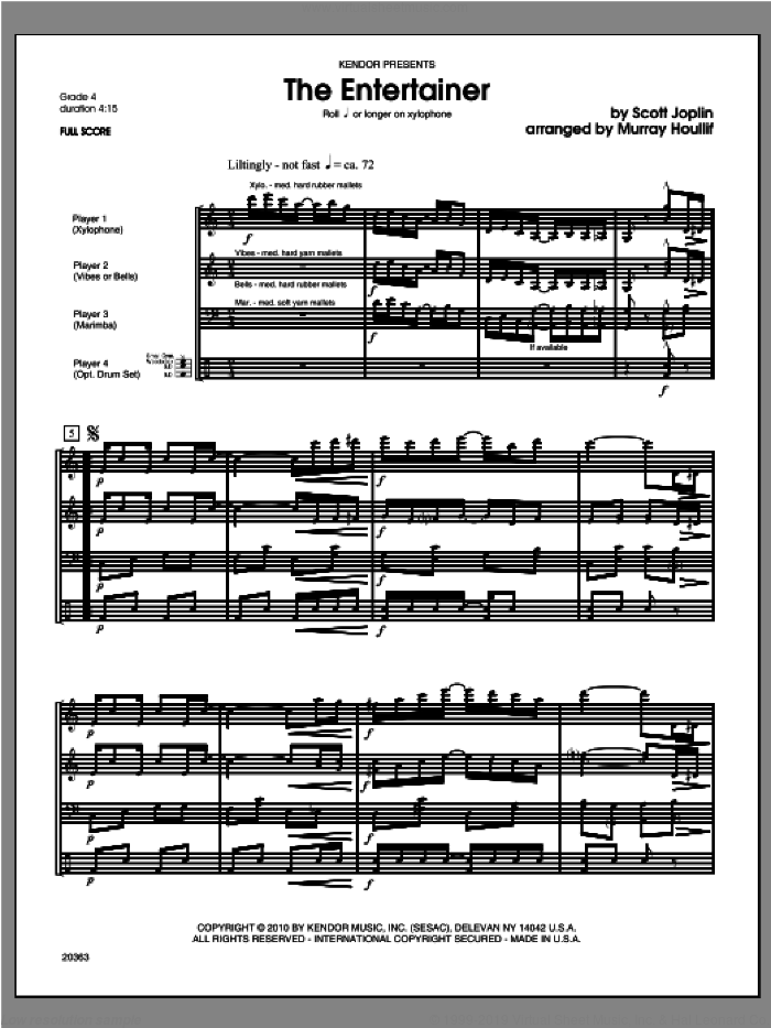 Entertainer, The (COMPLETE) sheet music for percussions by Scott Joplin and Houllif, classical score, intermediate skill level