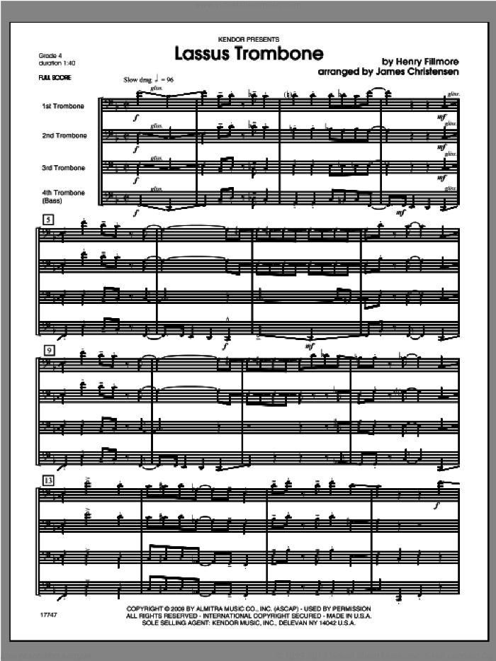Lassus Trombone (COMPLETE) sheet music for four trombones by Christensen and Fillmore, classical score, intermediate skill level