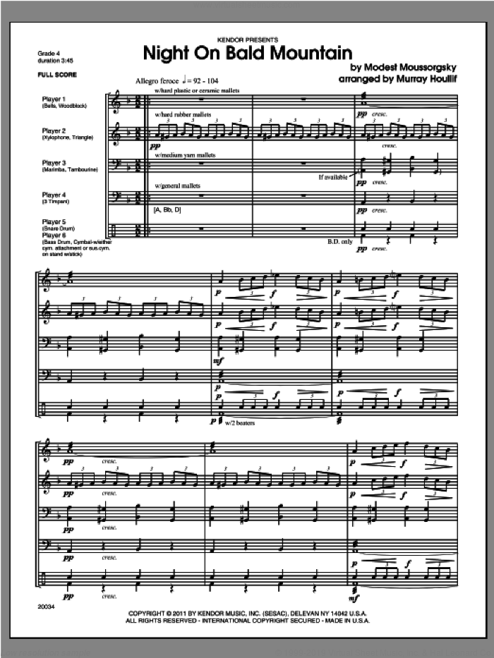 Night On Bald Mountain (COMPLETE) sheet music for percussions by Modest Petrovic Mussorgsky and Houllif, classical score, intermediate