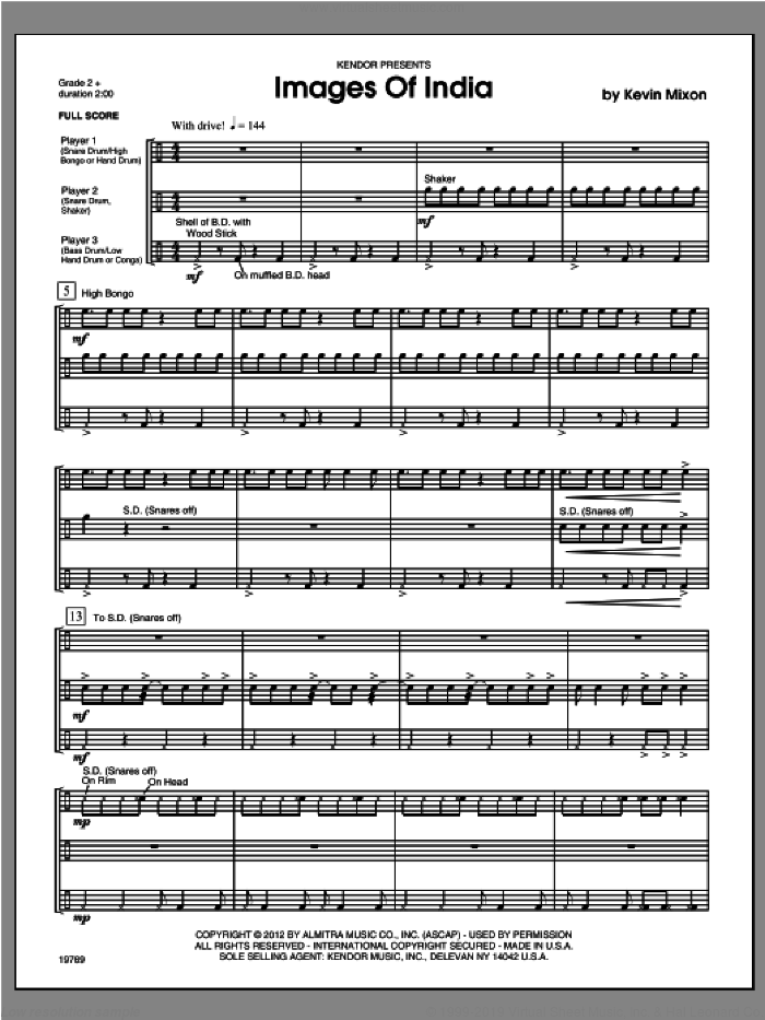 Images Of India (COMPLETE) sheet music for percussions by Mixon, classical score, intermediate. Score Image Preview.
