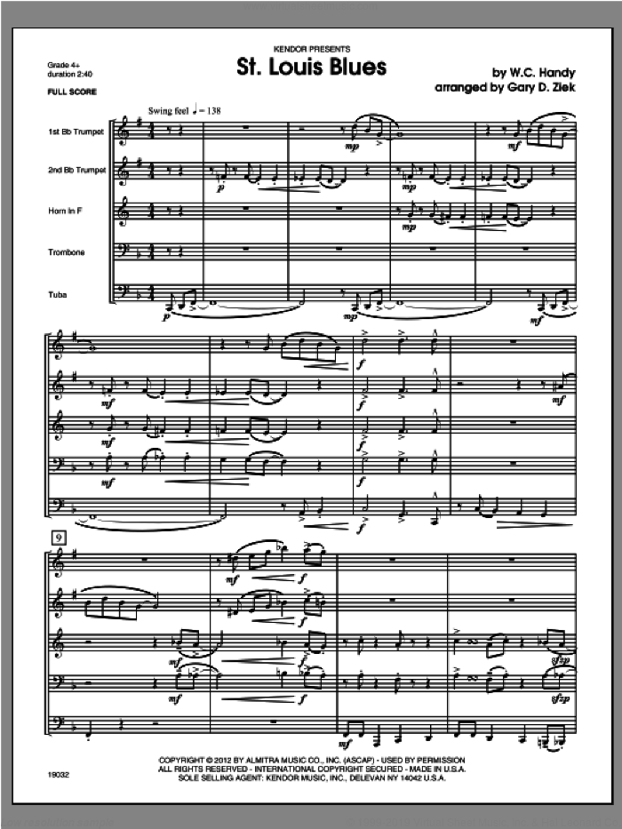 St. Louis Blues (COMPLETE) sheet music for brass quintet by Handy, classical score, intermediate. Score Image Preview.