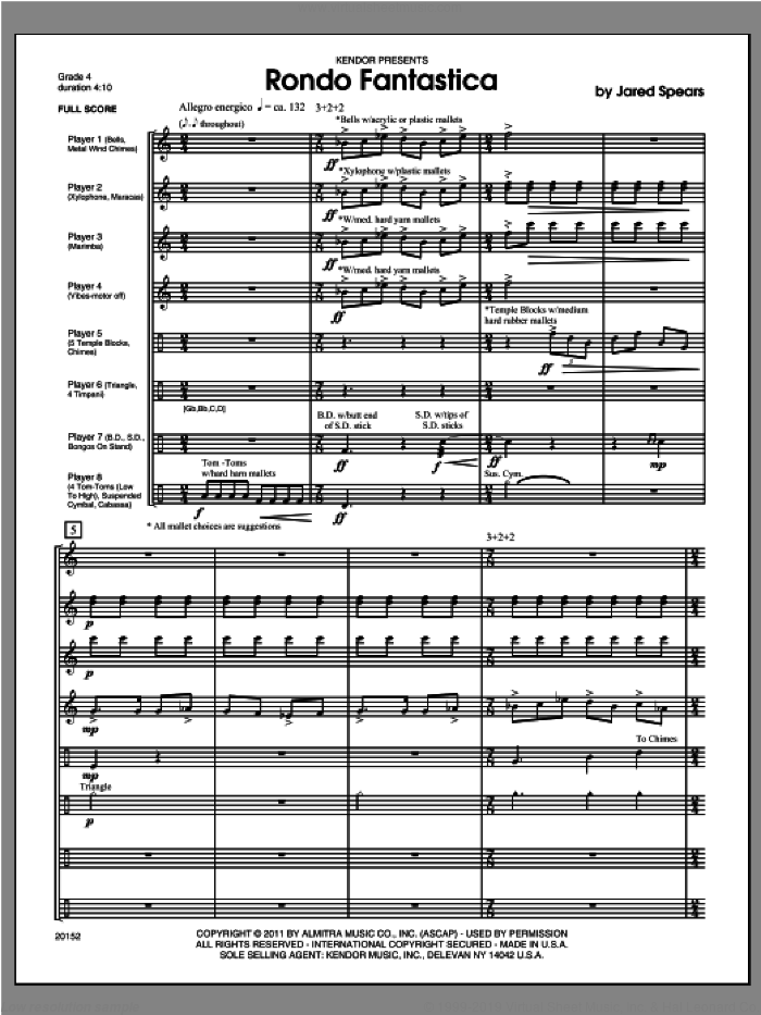 Rondo Fantastica (COMPLETE) sheet music for percussions by Spears, classical score, intermediate. Score Image Preview.