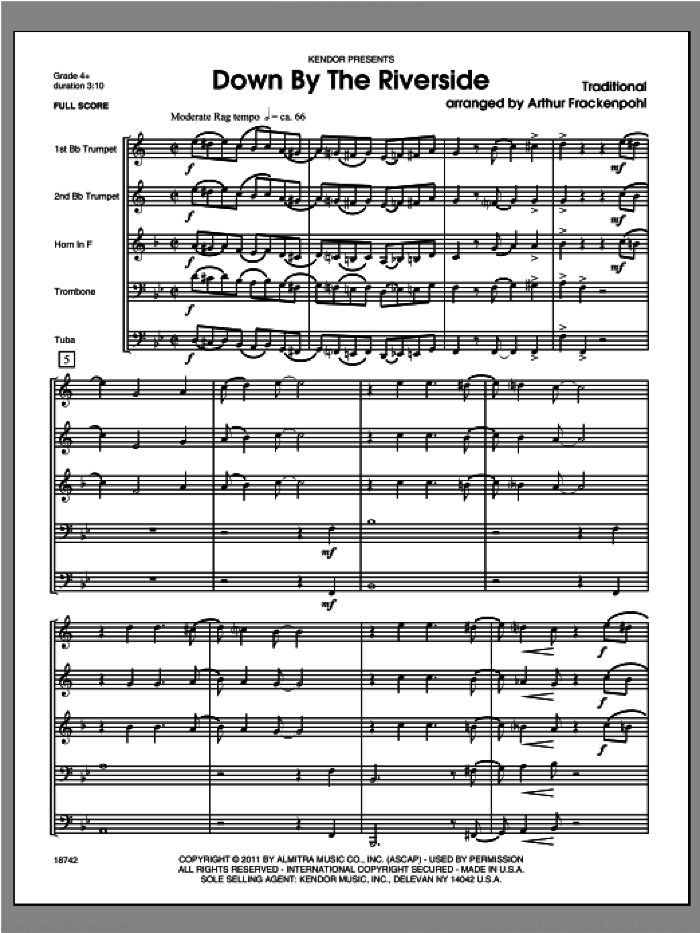 Down by the Riverside (COMPLETE) sheet music for brass quintet by Steve Frackenpohl, classical score, intermediate skill level