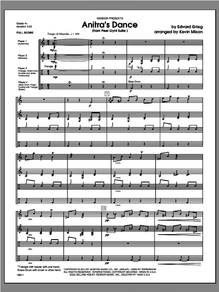 Anitra's Dance (from Peer Gynt Suite) (COMPLETE) sheet music for percussions by Edvard Grieg and Mixon, classical score, intermediate skill level