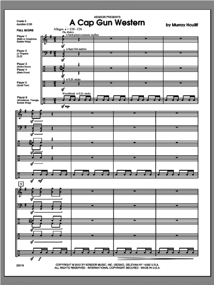 Cap Gun Western, A (COMPLETE) sheet music for percussions by Houllif, classical score, intermediate skill level