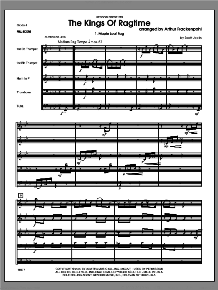 Kings Of Ragtime, The (COMPLETE) sheet music for brass quintet by Arthur Frackenpohl, classical score, intermediate. Score Image Preview.