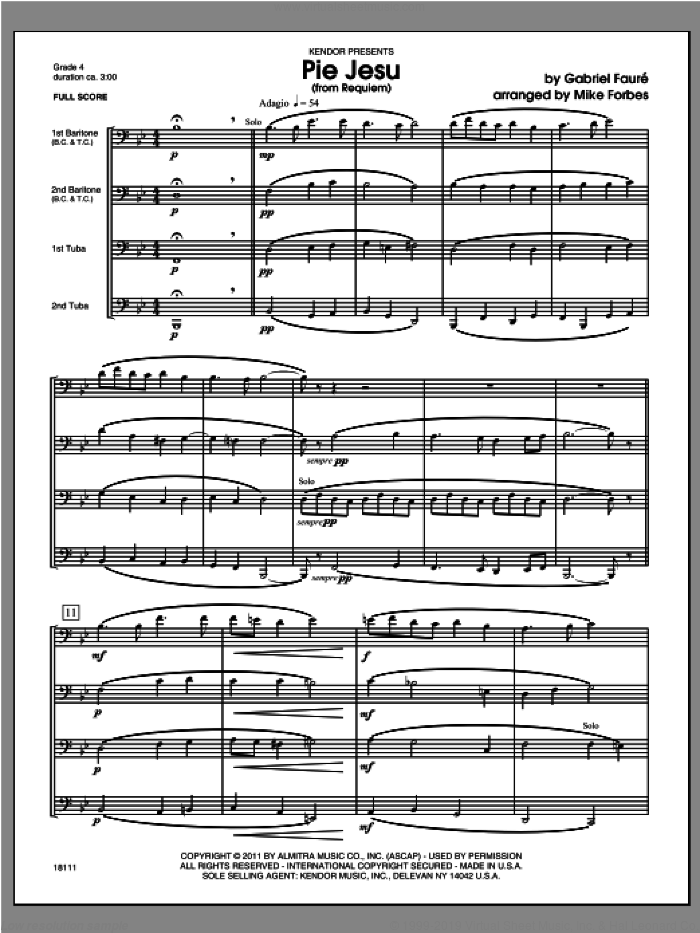 Pie Jesu (from Requiem) (COMPLETE) sheet music for baritone and tuba trio by Gabriel Faure and Michael Forbes, classical score, intermediate skill level