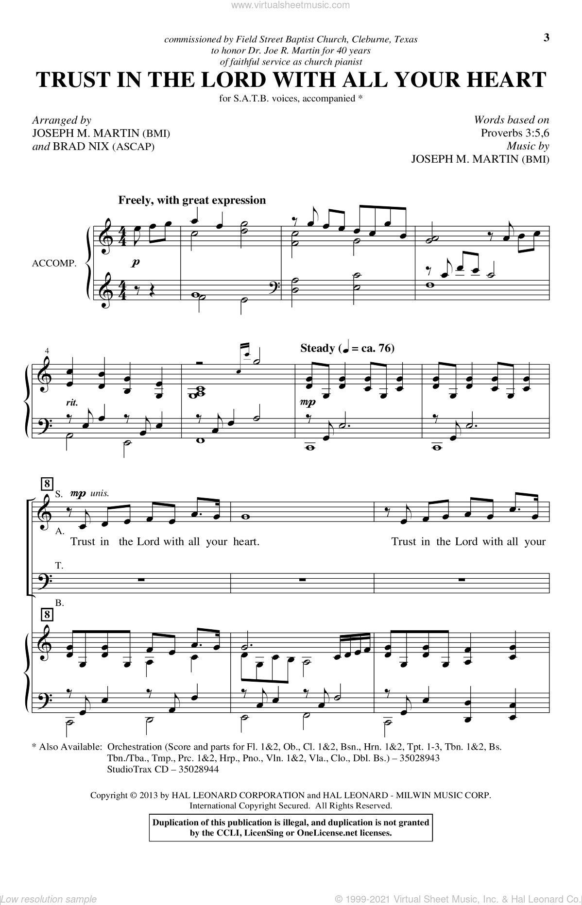 Trust In The Lord With All Your Heart sheet music for choir and piano (SATB) by Joseph M. Martin and Brad Nix. Score Image Preview.