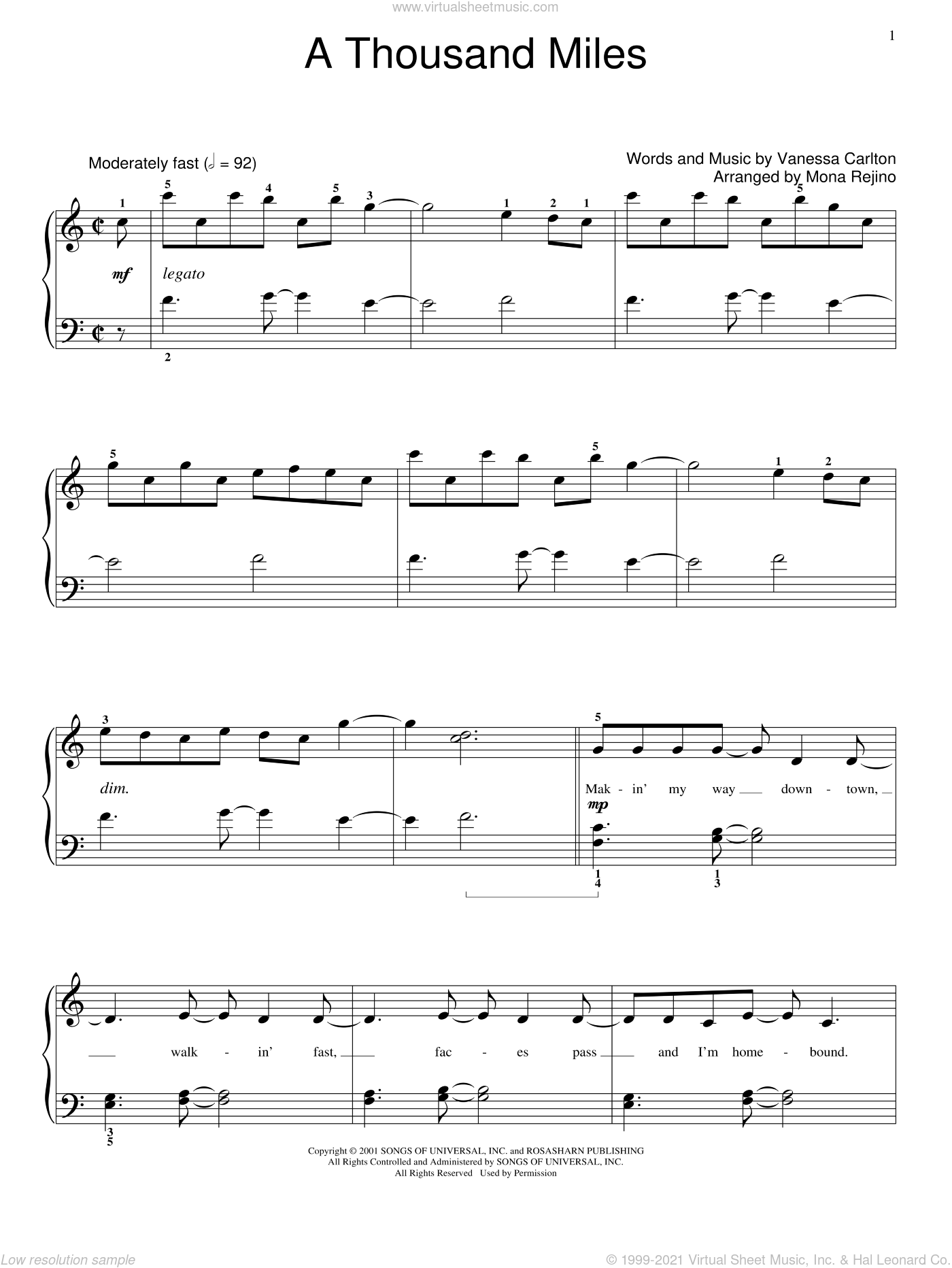 A Thousand Miles sheet music for piano solo (elementary) by Vanessa Carlton and Miscellaneous, beginner piano (elementary)