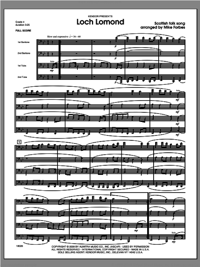 Loch Lomond (COMPLETE) sheet music for brass quartet by Forbes, classical score, intermediate. Score Image Preview.