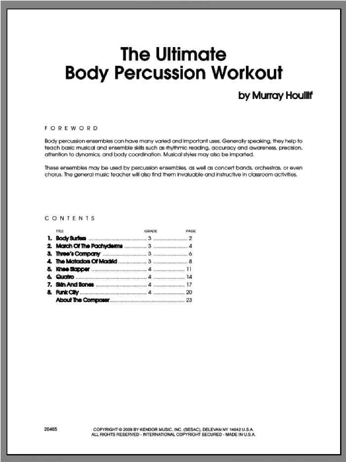 The Ultimate Body Percussion Workout (COMPLETE) sheet music for percussions by Houllif, classical score, intermediate