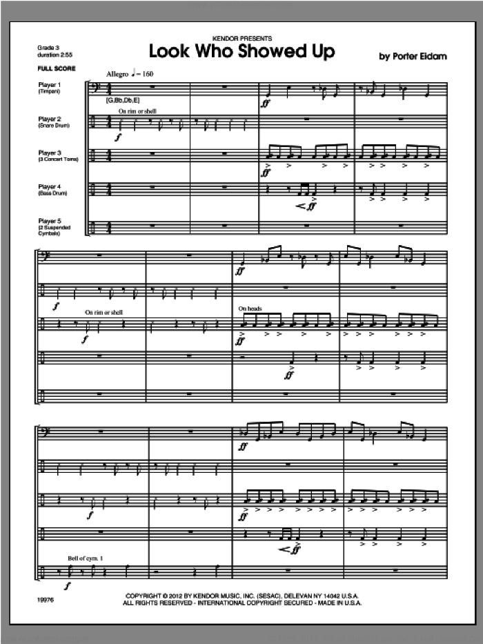 Look Who Showed Up (COMPLETE) sheet music for percussions by Eidam, classical score, intermediate