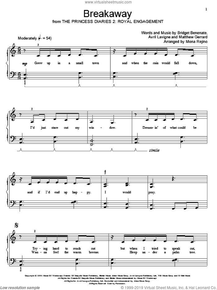 Breakaway sheet music for piano solo (elementary) by Matthew Gerrard, Kelly Clarkson, Miscellaneous, Avril Lavigne and Bridget Benenate. Score Image Preview.