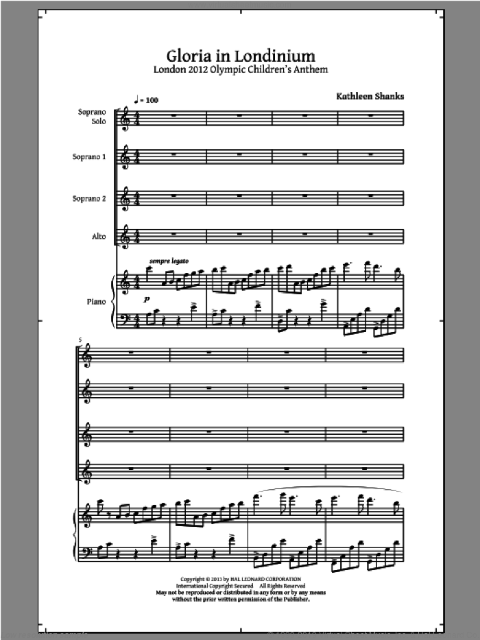 Gloria In Londinium sheet music for choir and piano (chamber ensemble) by Kathleen Shanks