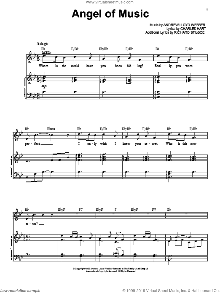 Angel Of Music sheet music for voice and piano by Andrew Lloyd Webber, intermediate. Score Image Preview.