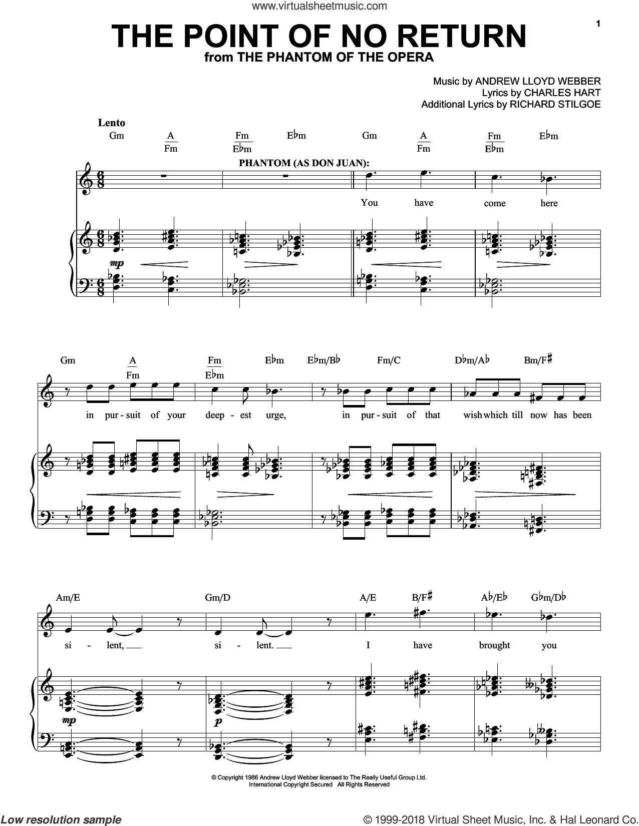 The Point Of No Return (from The Phantom Of The Opera) sheet music for voice and piano by Andrew Lloyd Webber and Phantom Of The Opera (Musical), intermediate skill level