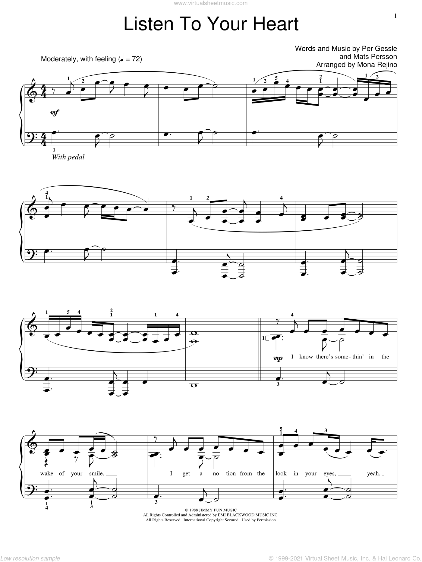 Listen To Your Heart sheet music for piano solo (elementary) by Per Gessle, Miscellaneous and Roxette. Score Image Preview.