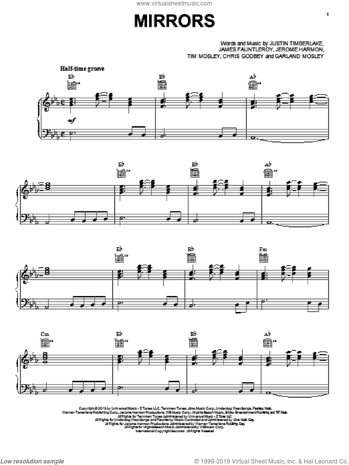 Mirrors sheet music for voice, piano or guitar by Justin Timberlake, intermediate skill level