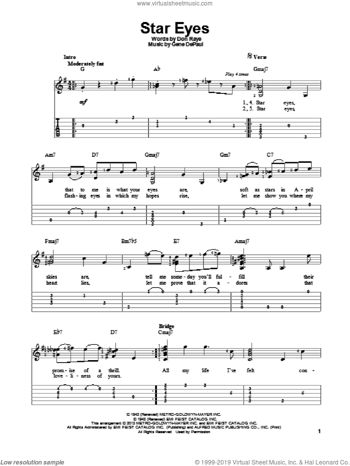 Star Eyes sheet music for guitar solo by Charlie Parker. Score Image Preview.